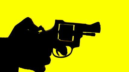 man shooting a handgun,real time,isolated,studio lighting,