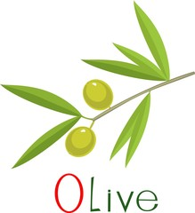 Green olives on branch with title