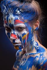 crazy color face art women portrait