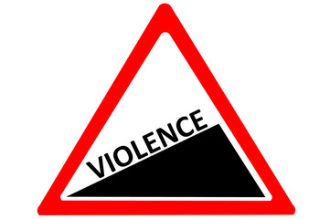 Violence increasing warning road sign isolated on white