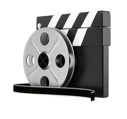 Clapper board and filmreel