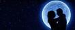 Leinwanddruck Bild - fall in love under the moon