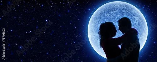 Leinwanddruck Bild fall in love under the moon