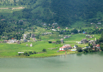 Pokhara city along Phewa lake