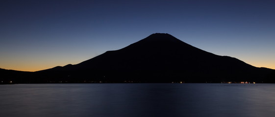 Mountain Fuji and lake Yakanakako at beautiful sunset