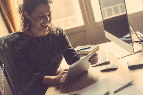 Young Woman Working at Home, Small Office poster