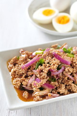 Thai traditional food Spicy minced chicken salad