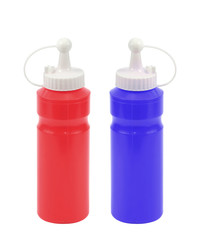 twin plastic red bottles on white background