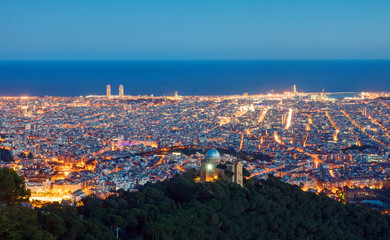 View over Barcelona from Mount Tibidabo at dawn