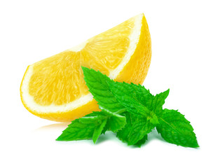 lemon and mint isolated