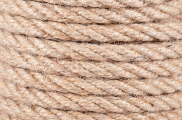 Close-up of natural fiber manila rope background