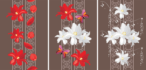 Decorative seamless borders with white and red tulips