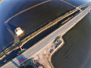 Aerial view of Albufera lake, Valencia, Spain
