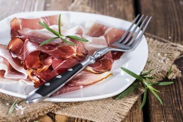Sliced Ham on wood