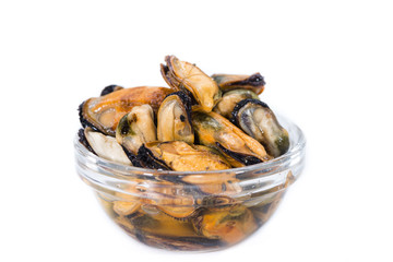 Pickled Mussels isolated on white