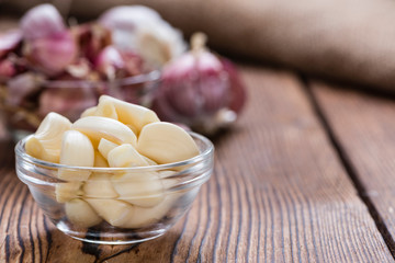 Peeled Garlic (on wood)