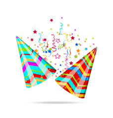 Colorful party hats with confetti for your holiday