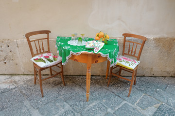 Table Setting In Ortigia Old Town of Siracusa, Sicily