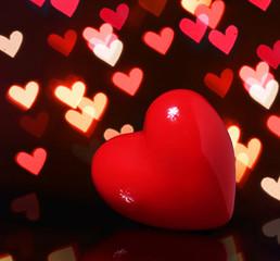 Valentine Red Heart over Bokeh in dark. Valentines Day Card