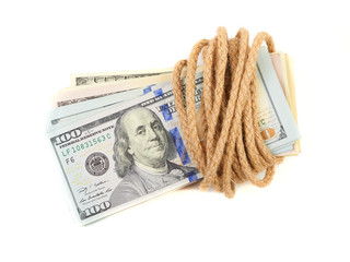 Hundred-dollar bills tied with a rope isolated on white.