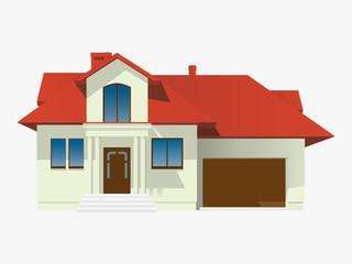 Dom z czerwonym dachem