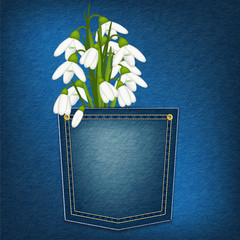 denim pocket with snowdrop