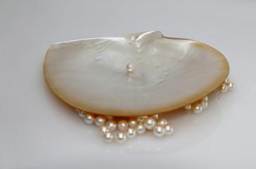 Muschel und Perlen, Perlmutt Schale