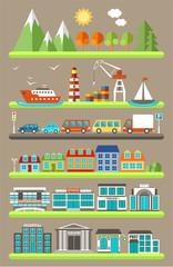 Flat city infographics