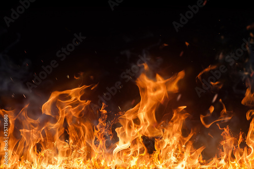 Beautiful stylish fire flames Poster
