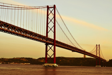 25 de Abril Bridge in Lisbon, Portugal, with a filter effect