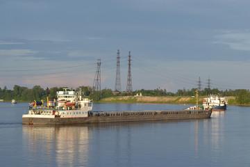 Cargo ship on the Neva river.