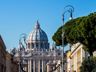 view of St Peter's Basilica in Rome