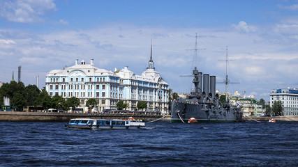 Cruiser Aurora on the Neva River, St. Petersburg, Russia
