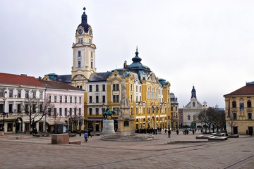 City Hall Square of Pecs in Hungary. Pecs, Hungary - World Herit