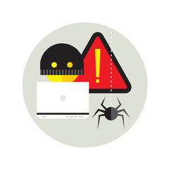 hacker activity viruses hacking and e-mail spam flat