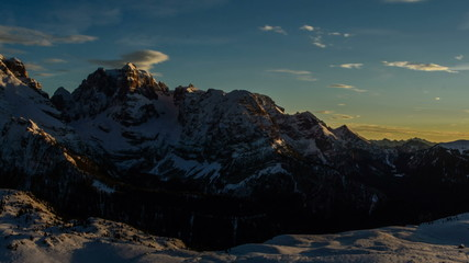 Cima Brenta mountain peak sunset in winter time lapse