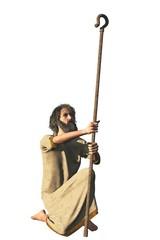Robed bearded hermit with shepherd crook