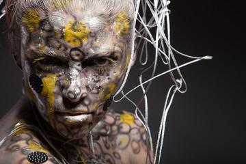 Woman female lizard. Body art and face art