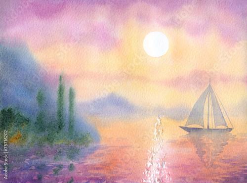 Fototapeta Watercolor landscape. Sailboat at Sea quiet evening