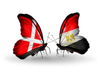Two butterflies with flags Denmark and Egypt
