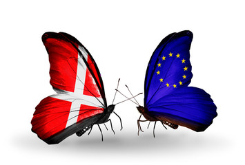 Two butterflies with flags Denmark and EU