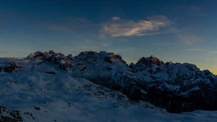 Cima Brenta and Cima Groste, Dolomites winter cold landscape