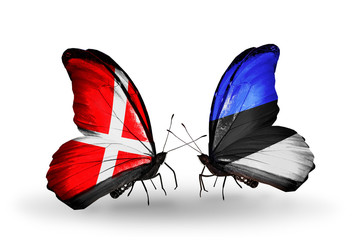 Two butterflies with flags Denmark and Estonia