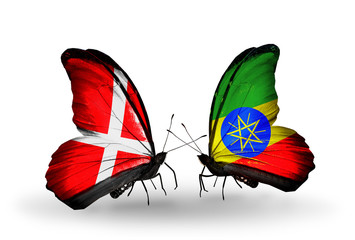 Two butterflies with flags Denmark and Ethiopia