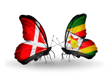 Two butterflies with flags Denmark and Zimbabwe