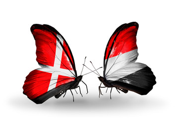Two butterflies with flags Denmark and Yemen