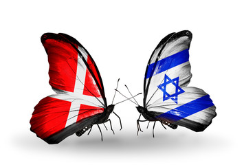 Two butterflies with flags Denmark and  Israel