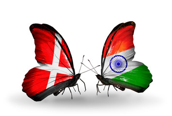 Two butterflies with flags Denmark and India