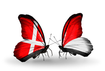 Two butterflies with flags Denmark and Monaco, Indonesia