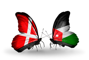 Two butterflies with flags Denmark and Jordan
